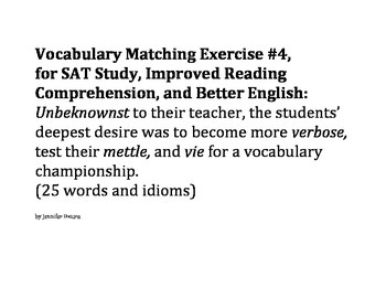 Group/Collaborative Vocabulary Matching Exercise #4 - SAT,