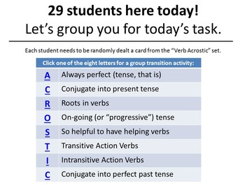 Grouping Cards with Vocab & Grammar Transitional Activitie