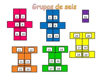 Spanish Grouping Charts/Posters for a 31 Students