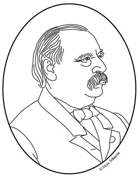 Grover Cleveland (24th President) Clip Art, Coloring Page