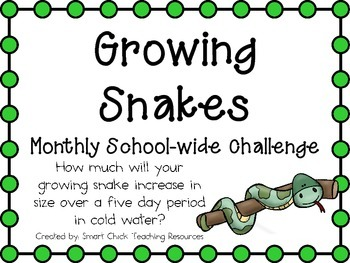 Growing Snakes ~ Monthly School-wide Science Challenge ~ STEM