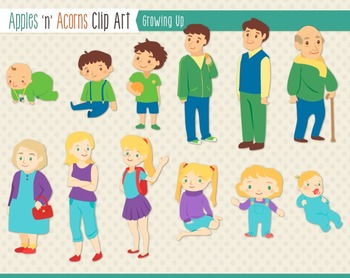 Growing Up Clip Art - color and outlines