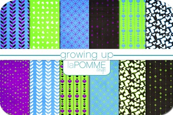Growing Up in the 80's Black Neon Patterned Digital Paper