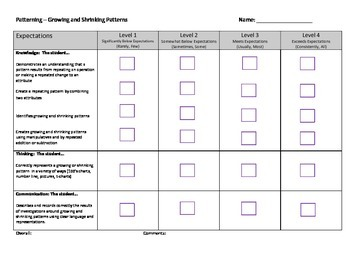 Growing and Shrinking Patterns Rubric - Grade 2 (Ontario)