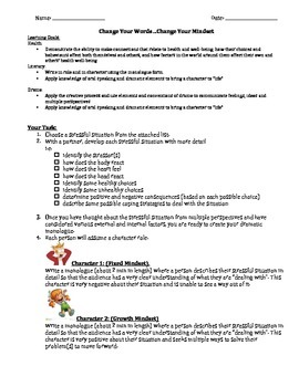 Growth Mindset: A Health, Drama & Literacy Summative Task