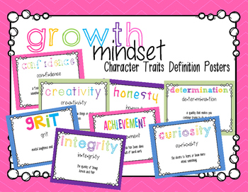 Growth Mindset Character Traits Posters
