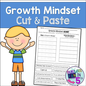 Growth Mindset: Cut and Paste Sorting Activity