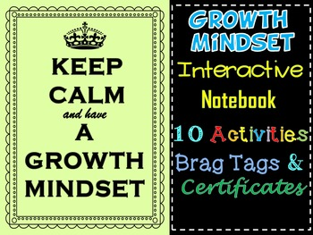 Growth Mindset Interactive Notebook Brag Tags, Certificate