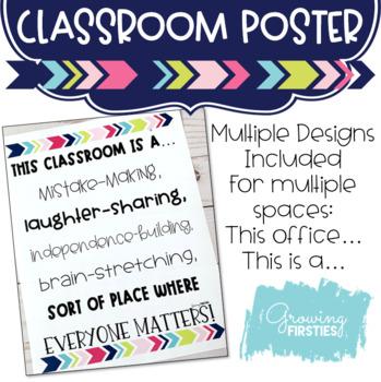 Growth Mindset, Kind, Caring Classroom Community Poster {Freebie}