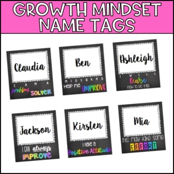 Growth Mindset Name Tags