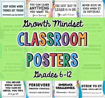 Growth Mindset | Growth Mindset Posters | Grades 7, 8, 9