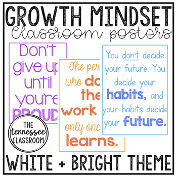 Growth Mindset Posters (White+Brights)