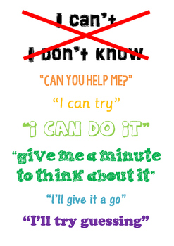 "Growth Mindset poster - ""I can't, I will"""