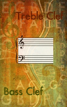 Grunge Style Treble and Bass Clef Poster, Full Size