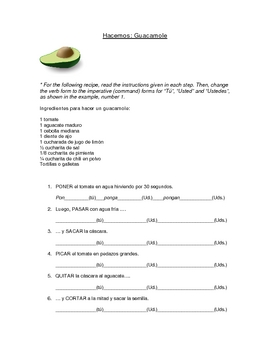 Guacamole: Spanish Commands (Imperative) Worksheet