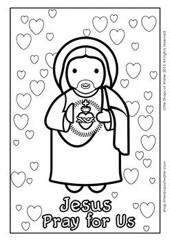 Sacred Heart Coloring - Catholic