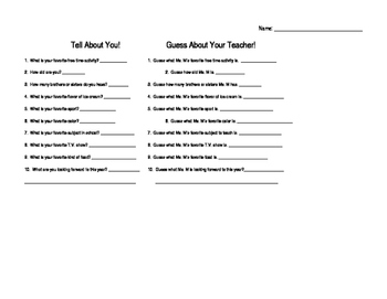 Guess About Your Teacher- Editable!