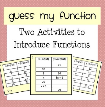 Guess My Function - Introducing Functions Activities