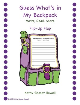 Guess What's in My Backpack - Write, Read, Share - Flip-Up Flap
