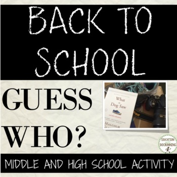Back to school All About Me Activity for Middle and High S