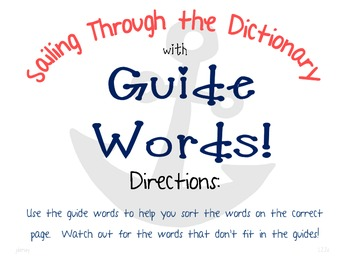 Guide Words Center Activity Pack