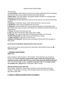 Guide to MLA Citation Handout