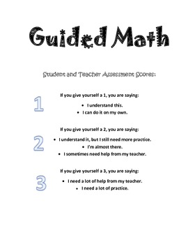 Guided Math Data Sheet - with Student/Teacher Rating