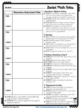 Guided Math Group or Math Intervention Data 2nd Grade CC A