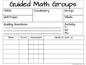 Guided Math Lesson Plan Template Editable