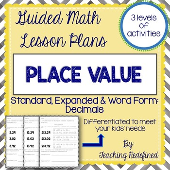 Guided Math Lesson Plans for Place Value: Decimal Number Forms