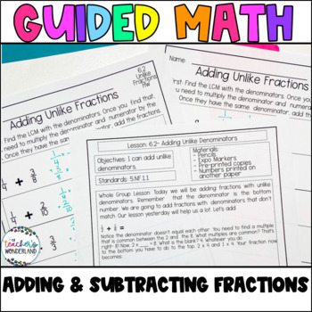 Guided Math- Unit 6 Adding and Subtracting Fractions