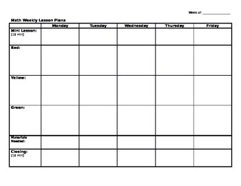 Guided Math Weekly Lesson Plan