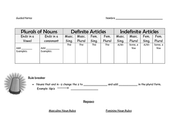 Guided Notes: Plurals of Nouns, Definite and Indefinite Articles