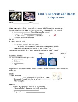 Guided Notes Rocks and Minerals