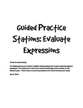 Guided Practice Stations: Evaluate Expressions