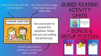 Guided Reading Task Cards + BONUS group names