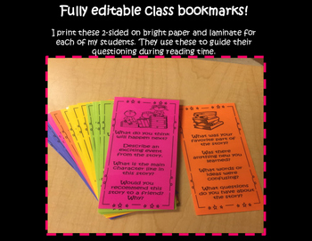 Guided Reading Bookmarks - Editable!