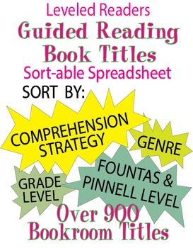 Guided Reading Bookroom Titles Spreadsheet for Leveled Readers