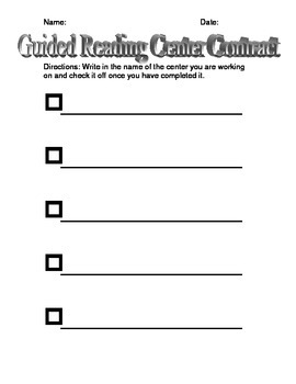 Guided Reading Center Contract