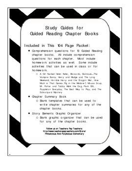 Guided Reading Chapter Book Study Guides Comprehension Questions