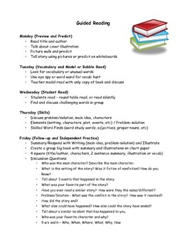 Guided Reading Daily Schedule