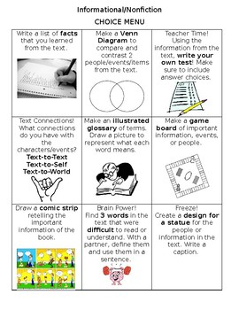 Guided Reading Extension Menu