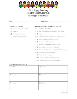 Guided Reading Forms for Observations, Tracking and Planning