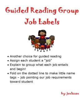 Guided Reading Group Job Desk Signs, standards based, job