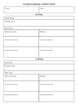 Guided Reading Lesson Forms