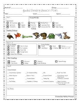 Guided Reading Lesson Plan