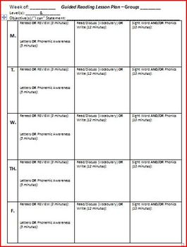 Guided Reading Lesson Plan Template (5 Days)