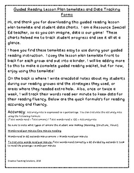 Guided Reading Lesson Plan and Data sheets