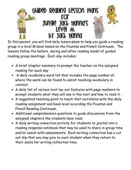 Guided Reading Lesson Plans- Jungle Jack Hanna's Safari Ad