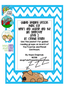 Guided Reading Lessons- Henry and Mudge and the Big Sleepo